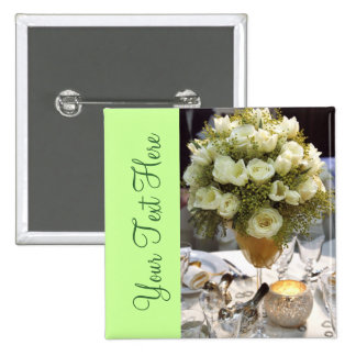 Beautiful White Floral Place Setting Button
