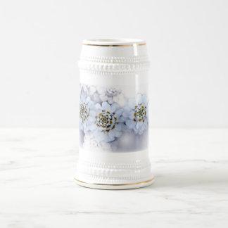 Beautiful White Flower Bouquet Beer Stein