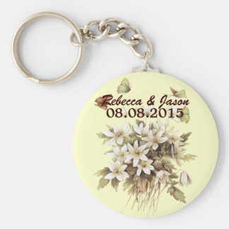Beautiful white flower floral country wedding keychain