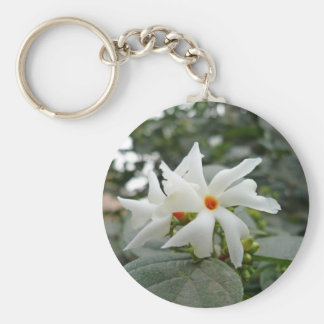 Beautiful white flower with an orange centre key chain