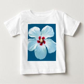 Beautiful White Hibiscus on Blue Baby T-Shirt