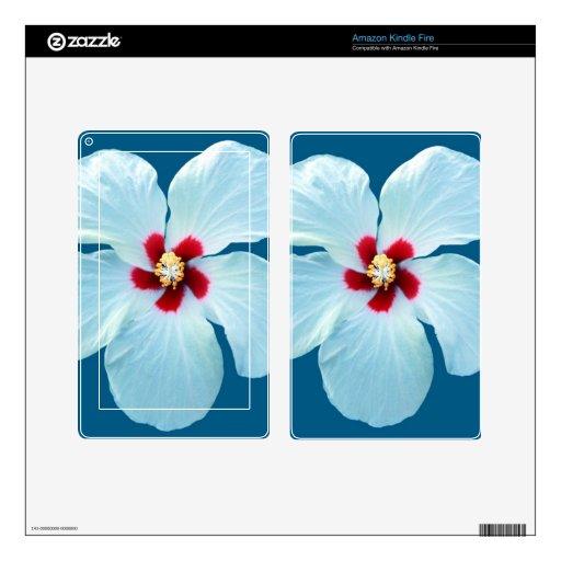 Beautiful White Hibiscus on Blue Kindle Fire Skin