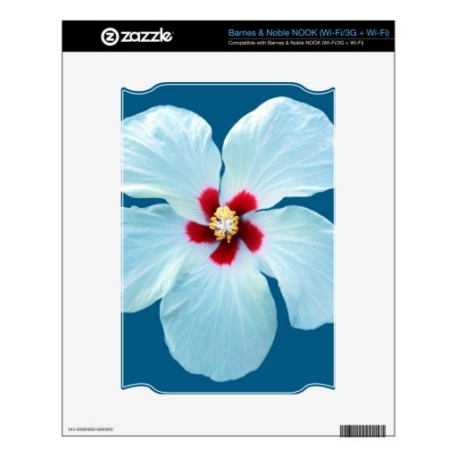 Beautiful White Hibiscus on Blue Decals For The NOOK