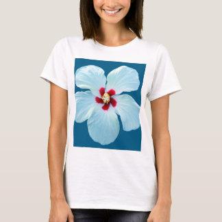 Beautiful White Hibiscus on Blue T-Shirt