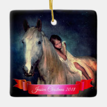 Beautiful White Horse and Little Girl Christmas Ceramic Ornament