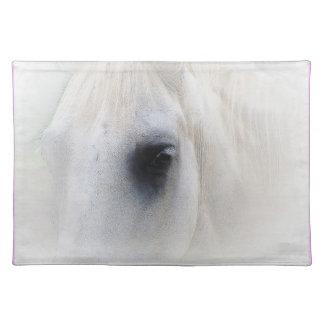 Beautiful White Horse Closeup Place Mats