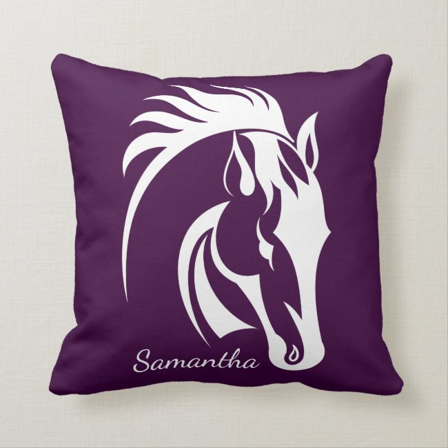 Beautiful White Horse Design Throw Pillow