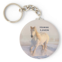 Beautiful White Horse Galloping in the Snow Keychain