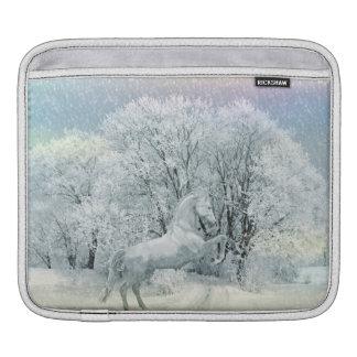 Beautiful White Horse in Snow iPad Sleeve