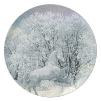 Beautiful White Horse in Snow Melamine Plate