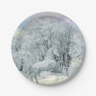 Beautiful White Horse in Snow Paper Plate