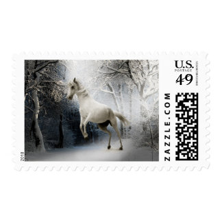 Beautiful White Horse Mare Winter Forest Stamp