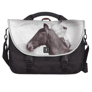 Beautiful white horse with its cute foal laptop bag