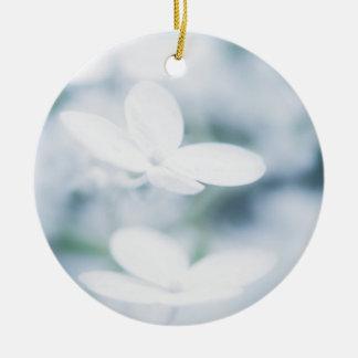 Beautiful white hydrangea blossoms ceramic ornament