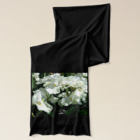 Beautiful White  Iris Monogram Scarf
