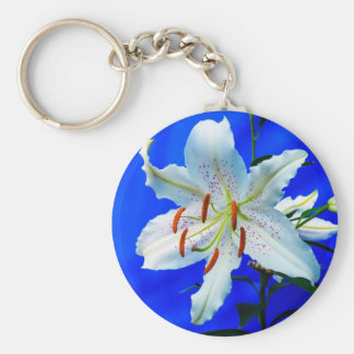 Beautiful white lily flower keychain