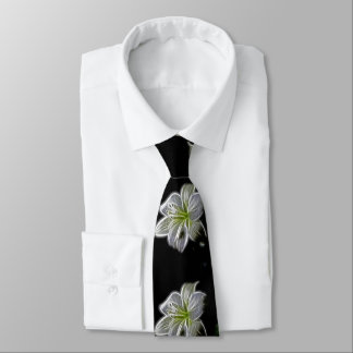 Beautiful white, lily flowers. Black background. Neck Tie