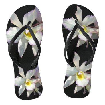 Beach Themed Beautiful White ORCHID Tropical Flowers Fancy Flip Flops