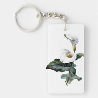 Beautiful White Peaceful Lily - Vintage Art Keychain
