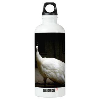Beautiful White Peacock Aluminum Water Bottle