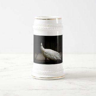 Beautiful White Peacock Beer Stein