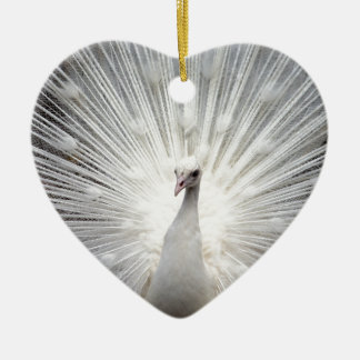 Beautiful white peacock ceramic ornament