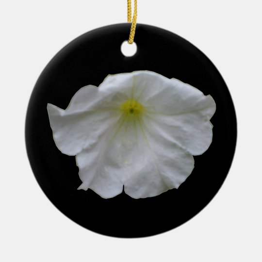 Beautiful White Petunia Custom Birthday Ceramic Ornament