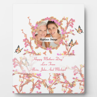 Beautiful White Pink Mothers Day Flowers Butterfly Plaque