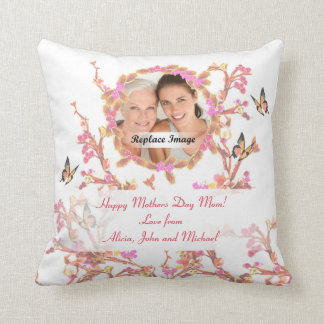 Beautiful White Pink Mothers Day Flowers Butterfly Throw Pillow
