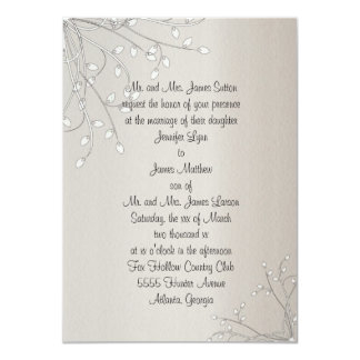 Beautiful White Pussy Willow Wedding Invitation