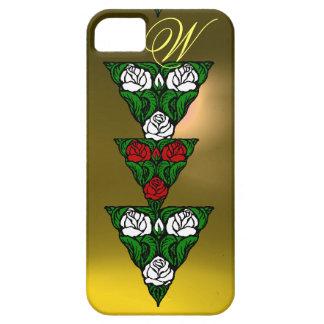 BEAUTIFUL WHITE  RED ROSES TRIANGLE MONOGRAM iPhone 5 CASE