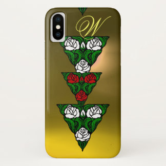 BEAUTIFUL WHITE  RED ROSES TRIANGLE MONOGRAM iPhone X CASE