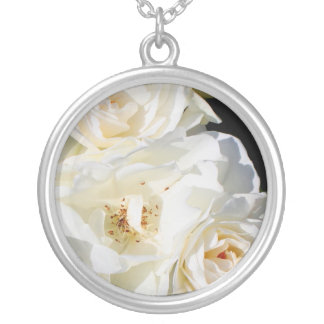 Beautiful white rose bouquet silver plated necklace