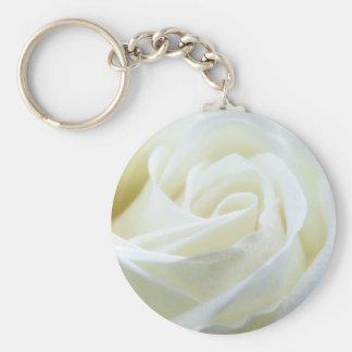 Beautiful White Rose Keychain