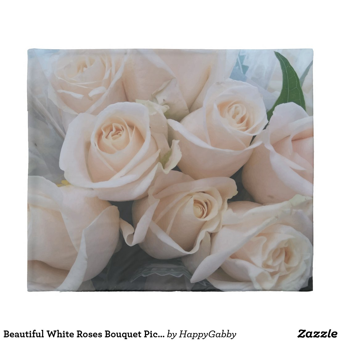 White Roses Bouquet Picture Duvet Cover
