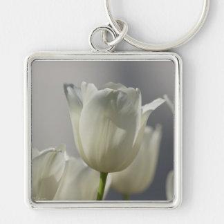 Beautiful White Spring Tulips Keychain