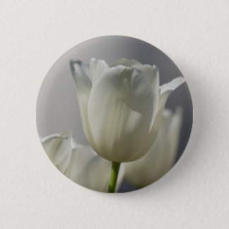 Beautiful White Spring Tulips Pinback Button