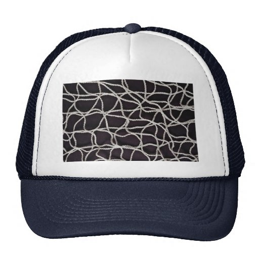 Beautiful White string on black background Hat