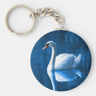 Beautiful white swan in water keychain