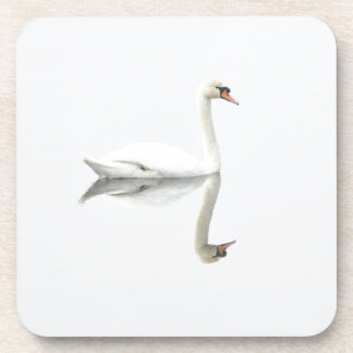 Beautiful white swan in water mirror image coaster