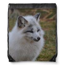 Beautiful White Swift Fox Drawstring Backpack