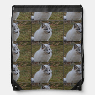 Beautiful White Swift Fox Drawstring Bag