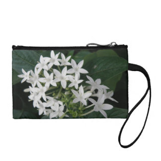 Beautiful White Tropical Flowers Bagettes Bag Coin Purse