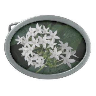 Beautiful White Tropical Flowers Belt Buckle
