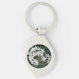 Beautiful White Tropical Flowers Keychain