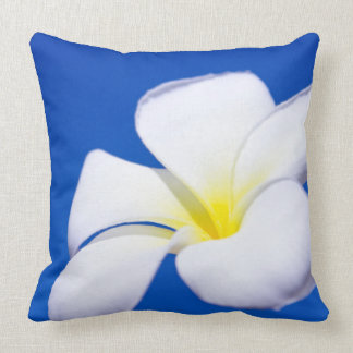 Beautiful White Tropical Plumeria and Blue Sky Pillows