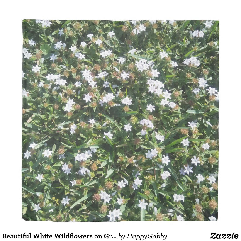 Beautiful White Wildflowers on Grass Nature Print Duvet Cover