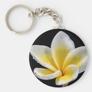 Beautiful white-yellow Plumeria flower Key Chain