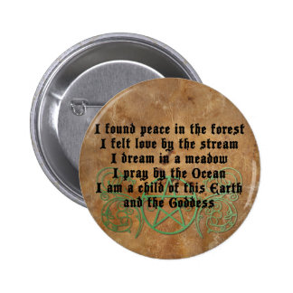 Beautiful Wiccan Poem Pinback Button