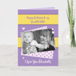 """Beautiful Wife purple and yellow Birthday photo Card<br><div class=""""desc"""">Personalize this Birthday Card for your Wife. Designed in purple and yellow with polka dots,  stars and hearts. Replace the photo with your own,  add her name,   and change the text to suit.  **Samplephotos©Lynnrosedesigns**</div>"""